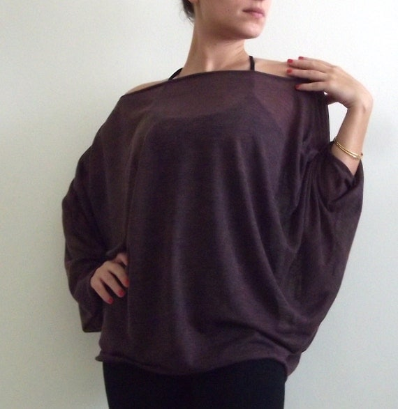 Oversize Sheer Knitted Top- Dolman oversize purple knitted top with bat sleeves ON SALE