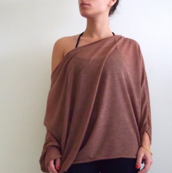 Plus size sheer Knitted Top- Plus size brick color knitted top with bat sleeves ON SALE