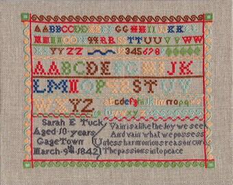 Chart of Sarah Tuck's Sampler, Gagetown, 1842