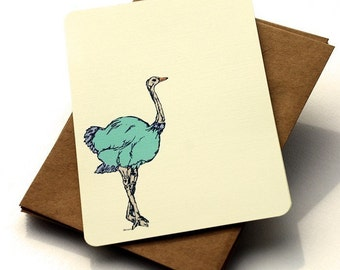 The Ostrich Notecard Set - Ostrich Notecards in Blue, Peach and Cream - Set of 6 flat Notecards and Kraft Envelopes