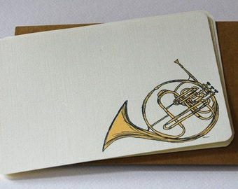 The French Horn Notecards in Gold and Cream - Set of 6 Flat Notecards and Kraft Envelopes