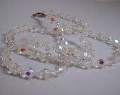 Glitz and Glam Austrian Crystal Swarovski Aurora Borealis Long Dainty Beaded Necklace