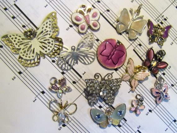 Lot of 14 Colorful Butterfly Charms