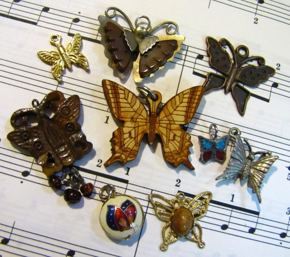 Lot of 9 Butterfly Charms