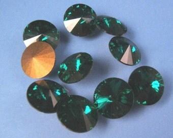 Four Pieces of  10mm  Swarovski  Rivoli - Emerald