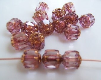 Pink and Gold Faceted Czech  6mm