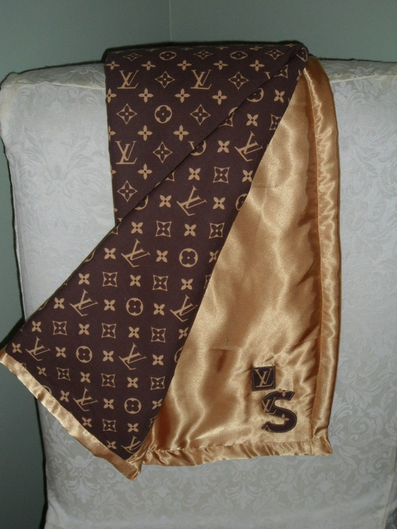Designer Inspired Louis Vuitton Print Satin Baby Blanket