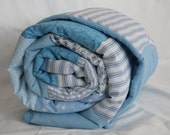 Sky Blue Striped Patchwork Baby Quilt/Lap Quilt