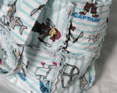 SALE Price as marked*** Flannel Pirates Patchwork Shabby Bag - White and Teal Stripes