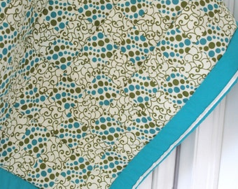Patchwork Baby or Lap Quilt in Teal, Cream, and Green Polka Dot