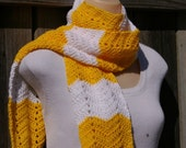 Summer Scarf in Sunshine Yellow Chevron and White Hand Crocheted