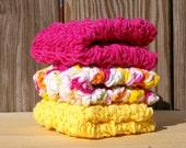 Wash Cloths in Neon Rainbow Bright Set of 3 Cotton Crochet Handmade