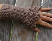 Crochet Arm warmers Fingerless Gloves Lace Arm Warmers in Taupe Brown Crochet