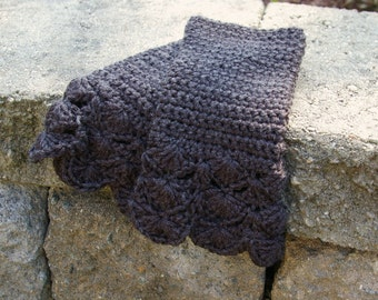Womens Fingerless Gloves Crochet Arm warmers in Charcoal Grey Lace Arm Warmers
