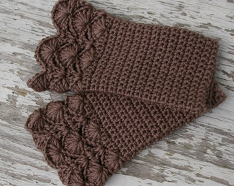 Arm warmers Fingerless Gloves in Taupe Brown Hand Crocheted