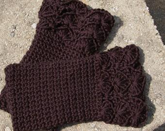 Arm warmers Fingerless Gloves in Black Handmade Crochet
