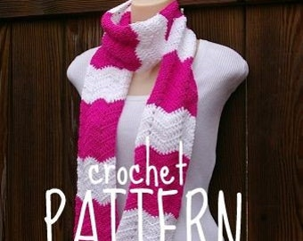 Scarf Crochet Pattern PDF Summer Wave Chevron