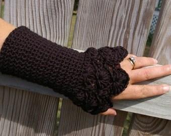 Lace Arm Warmers Crochet Fingerless Gloves Black Fingerless Mitts