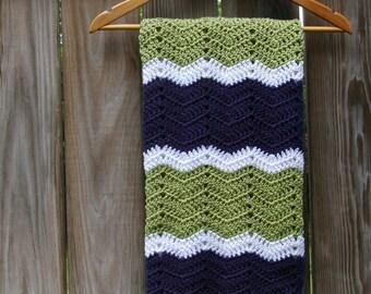 Crochet Baby Blanket Blue, Green, White Baby Afghan