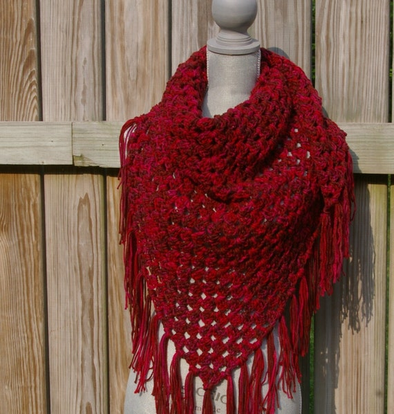 Shawl Triangle Scarf in Sunset Red Crochet