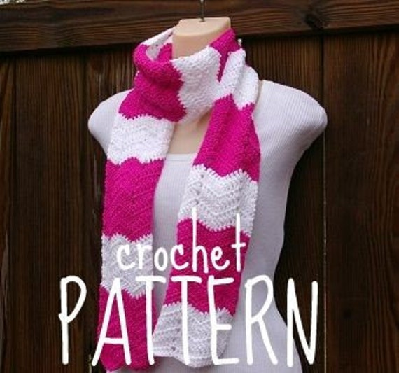 Scarf Crochet Pattern PDF Summer Wave Chevron