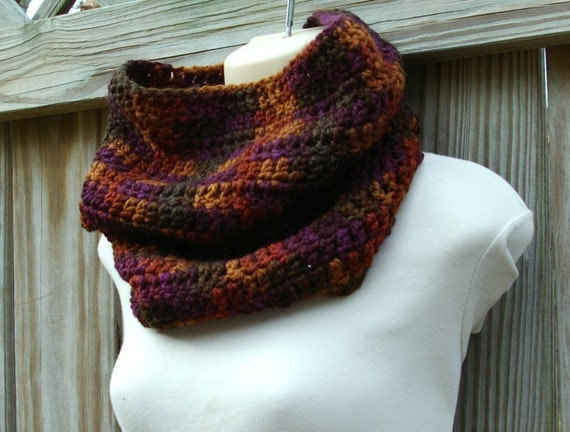 Cowl Neck warmer Infinity Scarf in Autumn Green, Brown, Burgandy