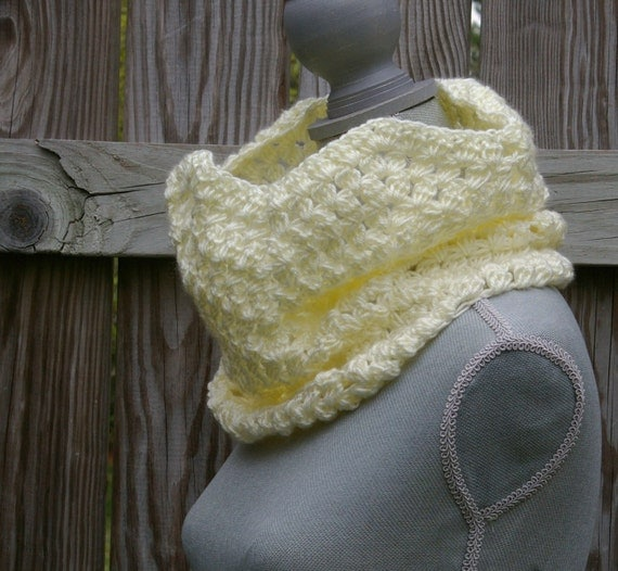 Circle Scarf Cowl Infinity Scarf in Cream Hand Crocheted