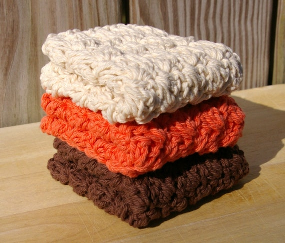 Crochet Dishcloths Cotton in Autumn Fall Brown, Ecru, Tangerine