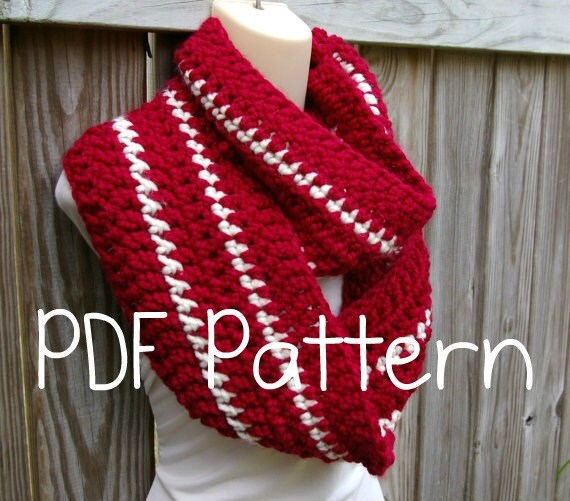 Crochet Pattern Infinity Scarf Circle Scarf Chunky Striped Cowl Instant Download