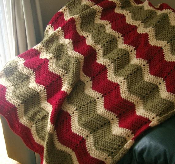 Crochet Afghan in Waverly Green, Red, Beige