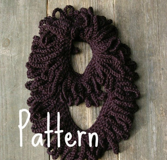 Crochet Infinity Scarf With Fringe Pattern : Crochet Pattern Loop Fringe Infinity Scarf PDF by ...