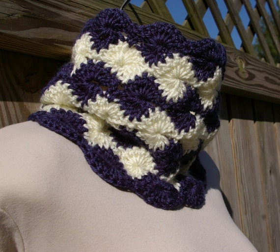 Cowl  Neck Warmer in Navy Blue and Cream