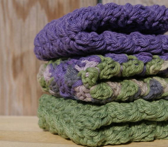 Cotton Kitchen Dishcloths in Purple & Green Hand Crocheted Set of 3