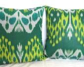 Lot of two 15x15 inches Uzbekistan Uzbek Ikat pillows