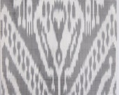 3 yards of Hand loom pure natural silk ikat fabric - light grey fabric