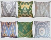 Set of 6 Uzbek Ikat pillow covers, 18x18