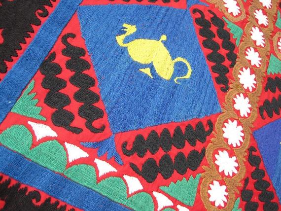 Uzbek fully handmade silk embroidery Vintage small Suzani - Bolinpush