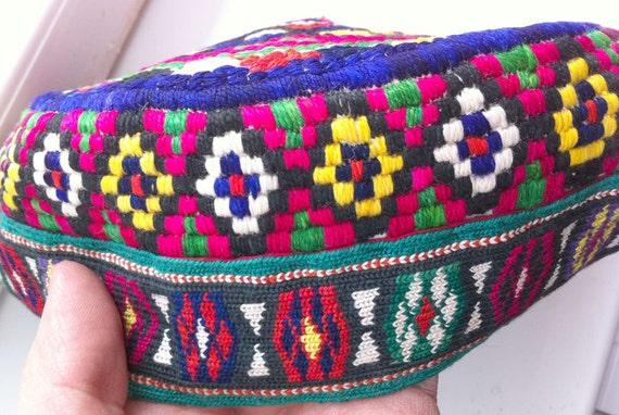 Uzbek fully handmade silk embroidery Vintage skull-cap