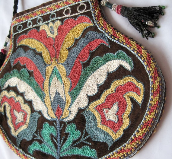 Lakay bag is a gorgeous item of Uzbek silk embroidery - both sides the same embroidery