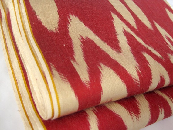 3 yards of Hand crafted natural silk cotton ikat beautiful fabric