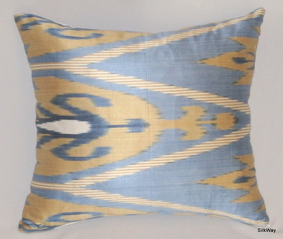 blue ikat pillow, cover, 16x16 Silk cotton Uzbek Ikat Pillow case - BOTH SIDE IKAT