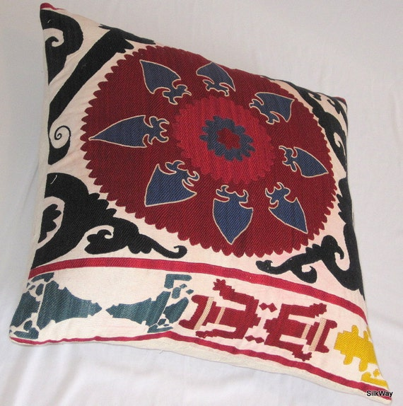 19x19 Fully  handmade silk embroidery beautiful Uzbek pillow cover