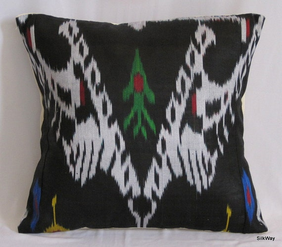 18x18 Silk cotton Uzbek Ikat Pillow case - handloom ikat fabric and hand dyed