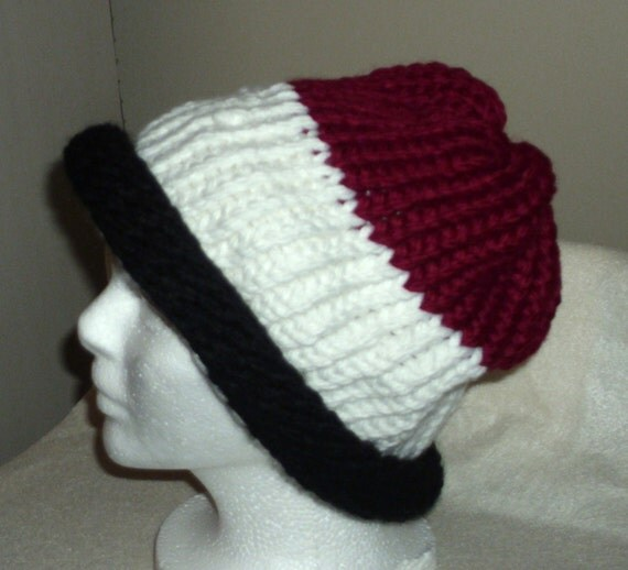 Knitted Hat for Adult - black, red and white for man or woman- Size Large/XL for adult.