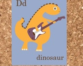 Eco Friendly D is for Dinosaur Nursery Art Print