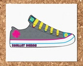 Old School Converse Shoe Design Eco Friendly Note Cards (Set of 8 Flat)