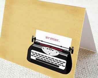 Eco Friendly My Story Typewriter Design Note Cards (Set of 6 Folded)