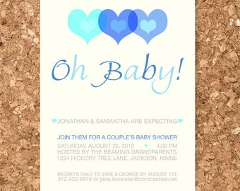 Printable Digital Modern Oh Baby Hearts Shower Invitation Kit & Matching Thank You Card Design