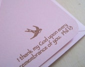 I thank my God... (flat card set in pink/brown)