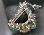 Peridot, Apatite, Citrine, Amethyst  Wire Wrapped Necklace -- Spring's Harp --